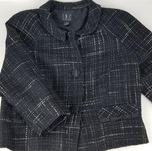 I.N.C Tweed Blk/Ivy Cropped Jacket